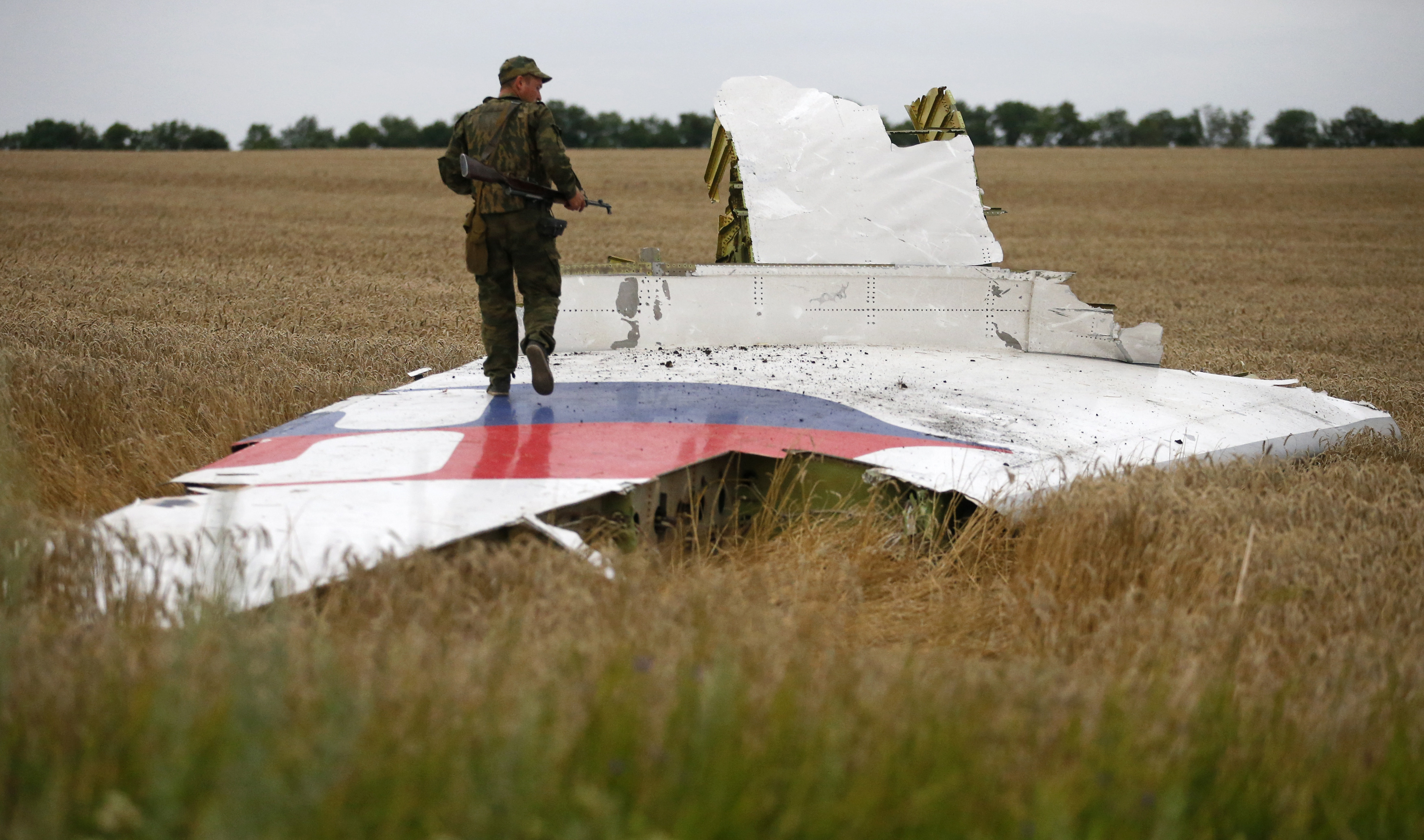 Armed pro-Russian separatist stands on part of the wreckage of the Malaysia Airlines Boeing 777 plane after it crashed near the settlement of Grabovo in the Donetsk region